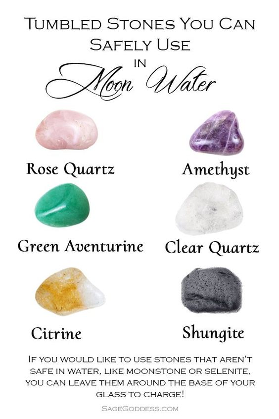 Have you ever used stones to charge your moon water? Use this guide to determine which stones you can safely use to add an intention to and charge your moon water.