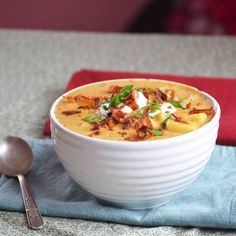 Slow Cooker BBQ Loaded Baked Potato Soup. I could devour a bowl of this right now.