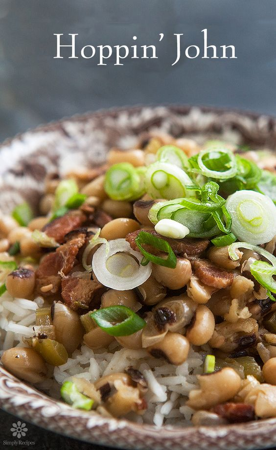 A classic Southern dish to celebrate New Year's. The black-eyed peas are for good fortune in the coming year.  ~ SimplyRecipes.com
