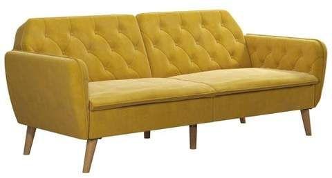 Novogratz Tallulah Memory Foam Futon And Couch Mustard Yellow Velvet Couch Love Seat Furniture