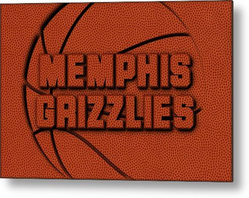 Grizzlies Metal Print featuring the photograph Memphis Grizzlies Leather Art by Joe Hamilton