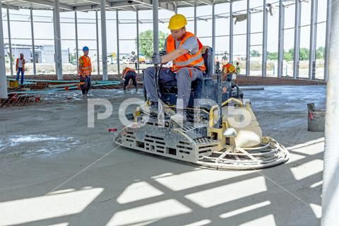 Power Trowel Machine For Finishing Surface Concrete Leveling After Pouring Stock Photo 71076395 Power Trowels Trowel Stock Photos