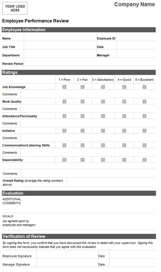 Employee evaluation template employee performance for Human resource forms and templates