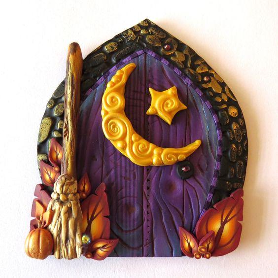 Moon harvest fairy door purple pixie portal home decor for Purple fairy door