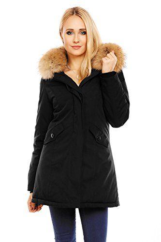 Husaria Damen XXL Echtfell Winterjacke mit Kapuze Mantel Rot