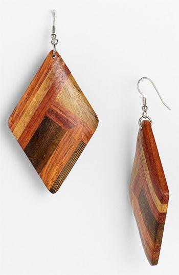 natural wood earrings diamond shape