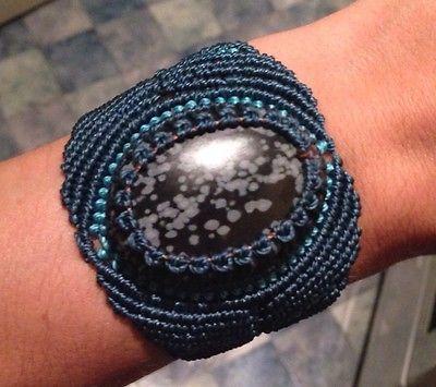Unique Handmade Macrame Ladies Bracelet With Snowflake Obsidian Original Hippy