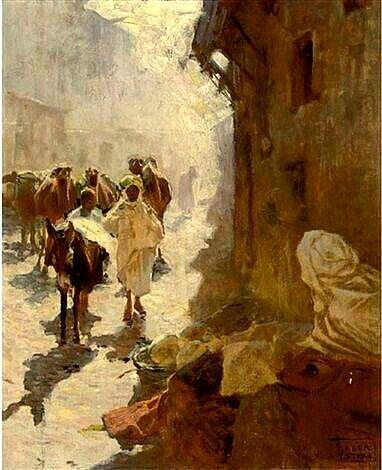 Peinture d'Algérie :Peintre Polonais Adam Styka (1890 - 1959) ,Huile sur toile, Titre : Au souk