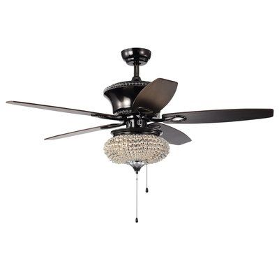 House Of Hampton 52 Laleia Crystal 5 Blade Ceiling Fan