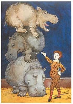 Hippopotamus Tamer Circus Act by Capucine Mazille Art Postcard: