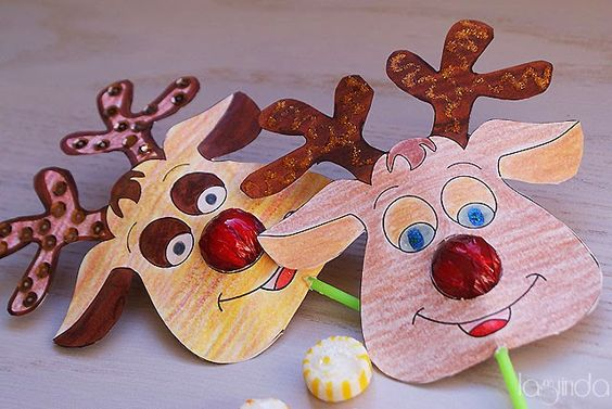 Free christmas printable: Reindeer lollipop nose. Plantilla gratis para navidad: Renos con nariz de chupa-chups. http://www.laguindadetalles.com/2014/12/renos-chupa-chups.html: