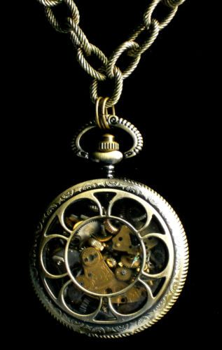 Steampunk Watch Part Gears Pocket Watch Pendant Necklace Great Gift L K | eBay