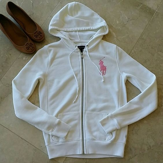 Ralph Lauren pink pony hooded sweatshirt Worn very few times. White sweatshirt is size S and has a small wear on the 3rd photo. Had it dried cleaned several days ago. Ralph Lauren Sweaters