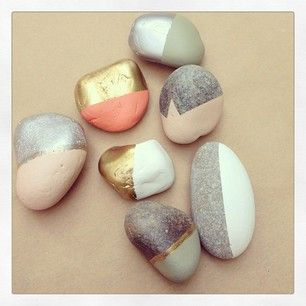 Pretty gold leaf stones and painted rocks.