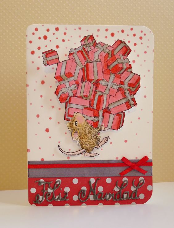 HMFMC# 231 - Christmas card with using a House Mouse stamp from Stampendous. I used an action wobble in the back to give the mouse some movement. Tarjeta de Navidad. Sello de Stampendous. Felicitación de La Pareja Creativa. http://housemouse-challenge.blogspot.com.es/2016/11/hmfmc-231-team-chall-anything-christmas.html: