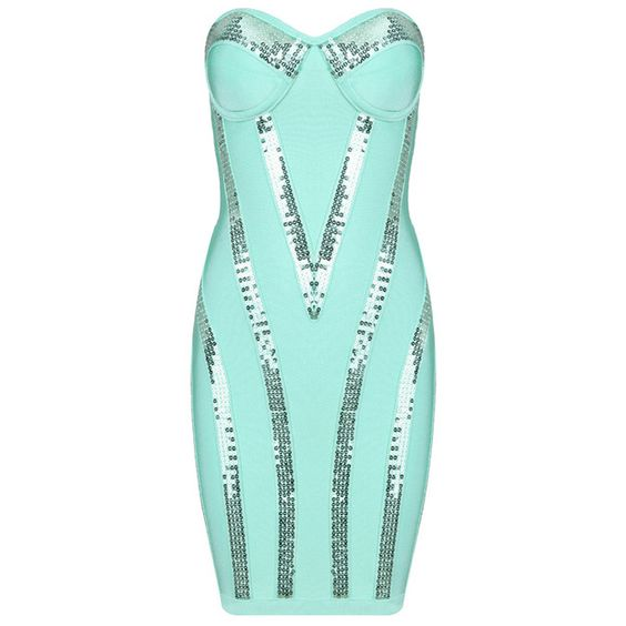 Buy $228.33 Michaela Aqua Sequin Strapless Bandage Dress Turquoise HL533,Cheap Herve Leger Strapless Dress On Sale Uk Free Shipping! ($228.00) - Svpply