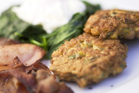 Corn Fritters, Crispy Bacon, Wilted Spinach and Poached Eggs | Bacon ...