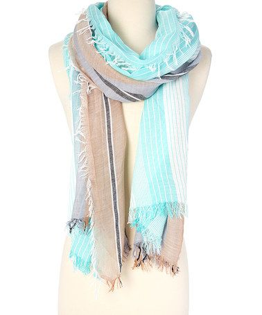 Love this Turquoise & Taupe Stripe Fringe Scarf on #zulily! #zulilyfinds