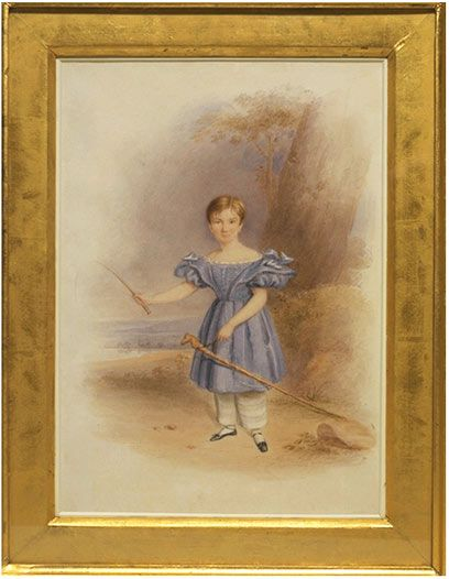 English watercolour, 1836. Boy in short dress with visible pantalettes as underwear.