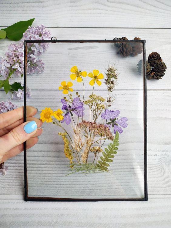 Leaf On Glass Framed Framed Pressed Flowers Decor Decor Herbarium Frame Flower Framed Flower Art Pressed Flower Art Flower Art