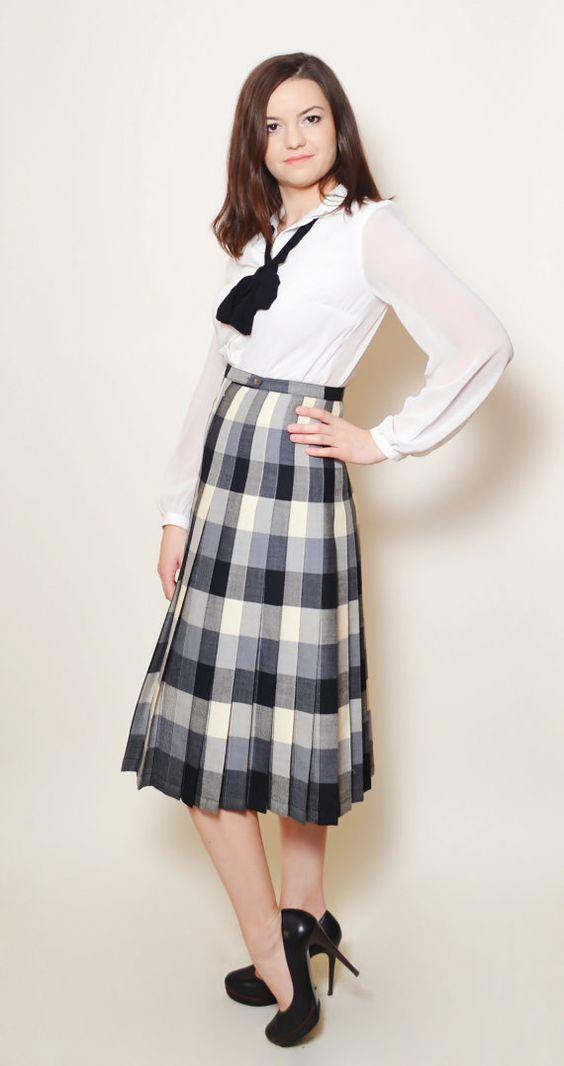 Plaid Skirt High Waisted Vintage Skirt Elegant by SixVintageChicks