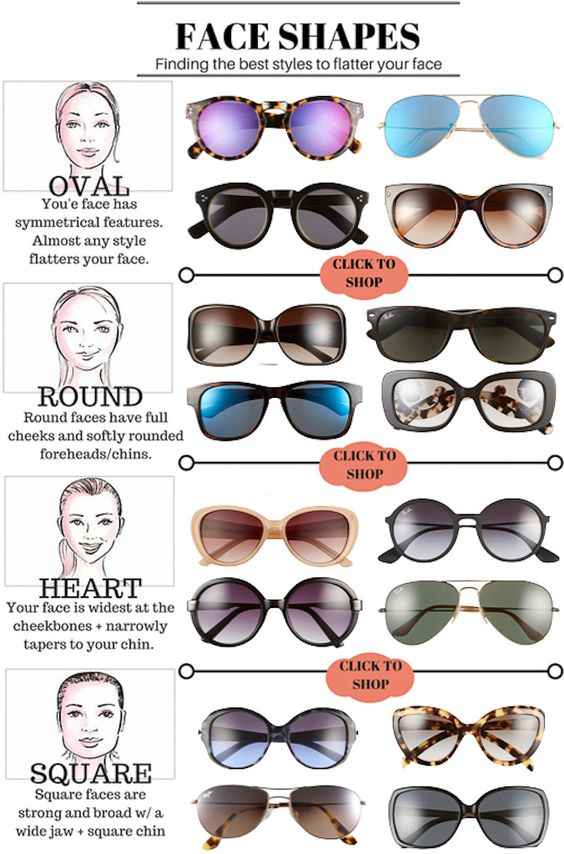Types Of Glasses Frames For Face Shapes : Best style, Sunglasses and Faces on Pinterest