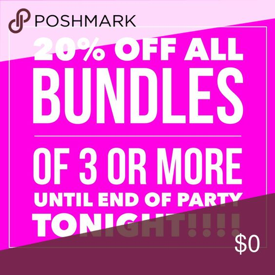 20% OFF ALL BUNDLES OF 3 OR MORE UNTIL PARTY ENDS! STARTING NOW!!!!!!!!!!!!!!!  20% OFF ALL BUNDLES OF 3 OR MORE UNTIL PARTY ENDS TONIGHT!! This is a FLASH SALE!! Take advantage of a great discount and one shipping cost for the next 2 hours!! Happy POSHING PFF's!!  All Accessories