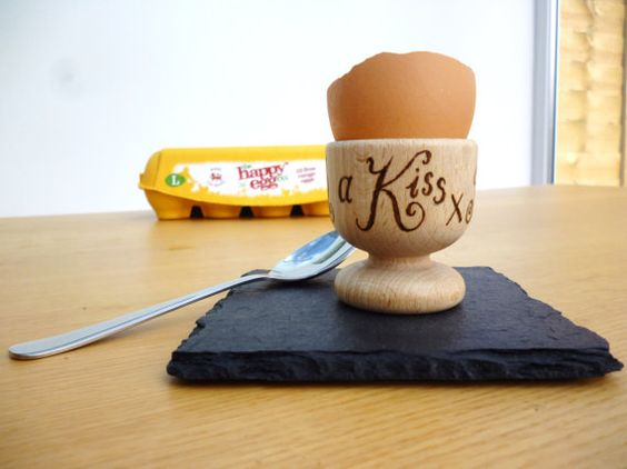 """Personalised gift solid beech egg """"I like mine with a kiss"""" hand pyrographed by CoveCalligraphy, £10.00"""
