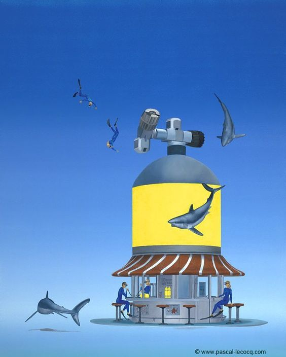 "CHUCKS AIR REFILL - oil on canvas by Pascal Lecocq The Painter of Blue  61x76cm 24x30 2010 lec822 part 3 of the Americana Serie available  pascal lecocq #tank #matador #art #blue #painterofblue #painting #painter #artist #contemporaryartcurator #artstack #artisticallysocial #in #pint The matador is print on a window poster you see trough the right window. Published in Chefs-doeuvre/masterpieces by Pascal Lecocq"" (Usa 2011). Prints on paper  available."