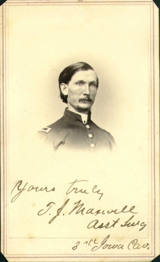 Thomas J. Maxwell was an Assistant Surgeon in the Third Iowa Cavalry cdv  by Campbell & Ecker Louisville, KY: