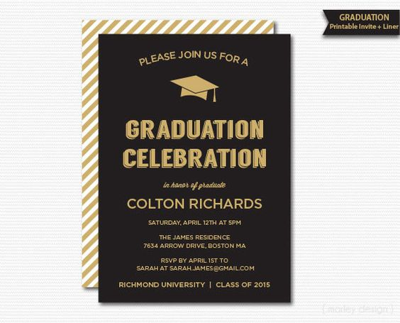 Graduation Invitation Printable Black Gold Graduation Dinner – Black and Gold Graduation Invitations