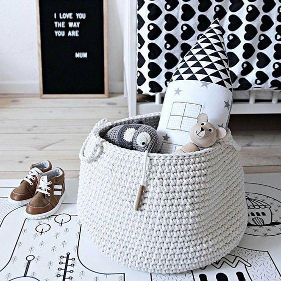 Cream basket | storing basket | nursery basket | ecru basket | beige basket | crochet basket | storing toys | nursery decor | cream bag