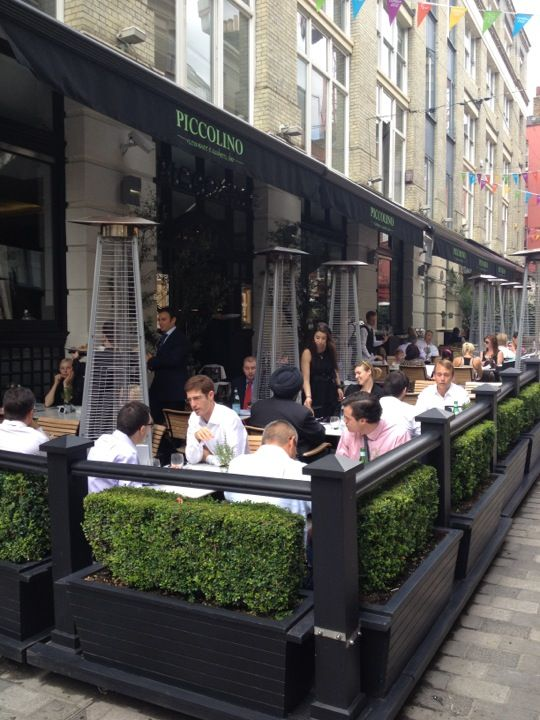 Piccolino Italian Restaurant, off Regent St. Check out Cichetti Bar in the basement for cocktails and nibbles.