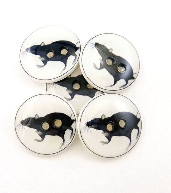 Rat Sewing Buttons. Handmade Buttons. 5 by onthedarkerside, $9.99