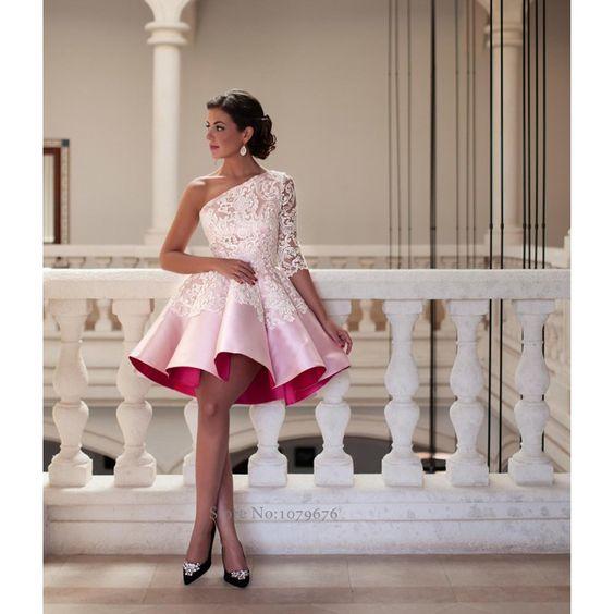 2016 novo estilo de um ombro rosa vestidos de coquetel elegante mulheres curto Prom vestido de baile Lace vestidos de festa vestido de noite F491 em Vestidos de Baile de Estudantes de Casamentos e Eventos no AliExpress.com | Alibaba Group