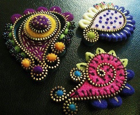 Felt & zipper jewelry
