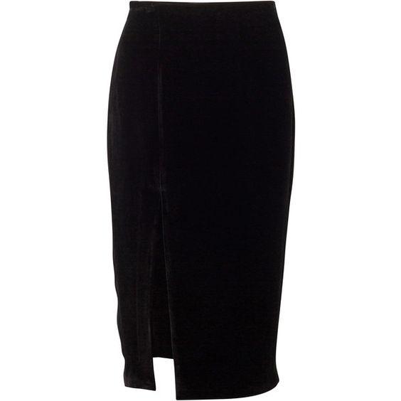 VELVET MIDI SKIRT (10.245 RUB) ❤ liked on Polyvore featuring skirts, mid calf skirts, slit pencil skirt, slit skirt, midi skirt and velvet skirt