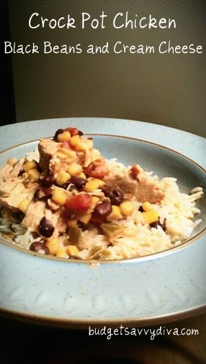 Crock Pot Chicken with black beans, corn, salsa, cream cheese, and lime.  Serve over rice.  DELISH!