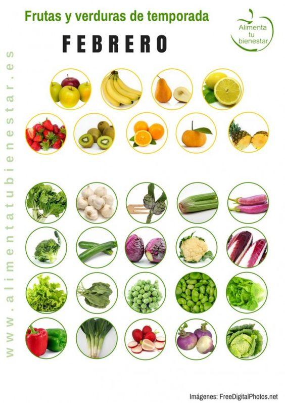 Frutas y verduras de temporada para febrero #alimentatubienestar Sigue el enlace de la imagen y descárgate el calendario en pdf para todo el año