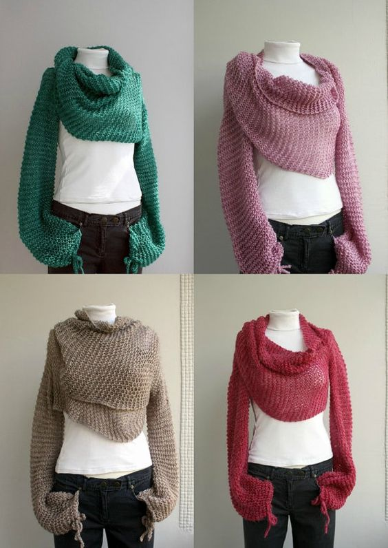 Knitting Pattern Scarf With Sleeves : LAST One FREE Shipping Green Bolero Scarf Shawl Neckwarmer ready to ship Vale...