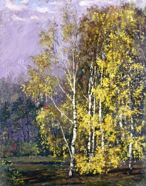 Edvard Munch (1863-1944), Birch Trees in the Autumn,1882. oil on cardboard, 39 x 31 cm