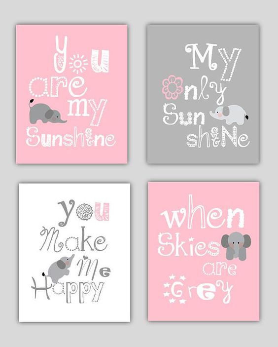 Elephant Art // You are my sunshine Pink and Gray by LittlePergola