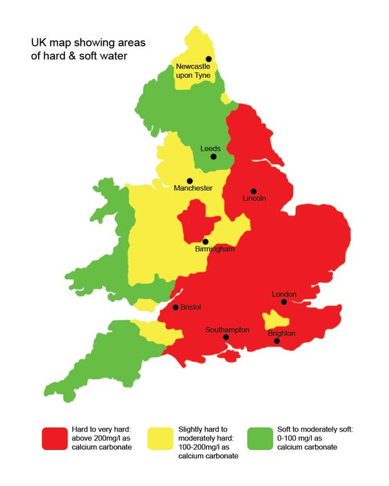 UK map showing areas of hard water and soft water