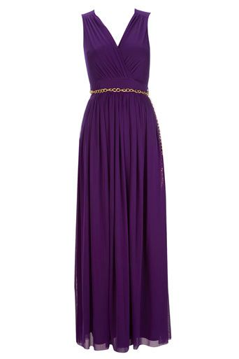 Gorgeous purple maxi dress with a gold chain belt around the waist. This stunning dress has a deep v neck and a split up the side. £60.00