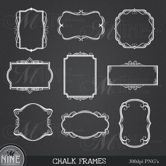 CHALK FRAMES Clipart Design Elements, Instant Download, Chalkboard Borders Accents Clip Art