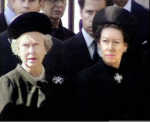Queen Elizabeth II and her sister, Princess Margaret, at Princess Diana's funeral on September 6, 1997.: