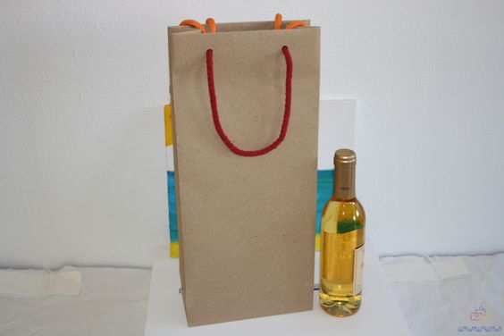 Bolsas de papel de 2 botellas con cordón de algodón.