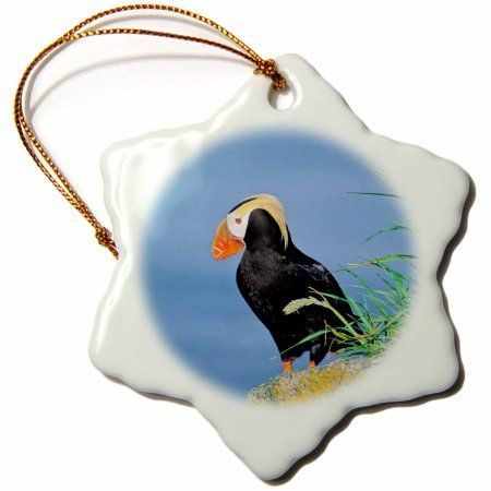 3dRose Tufted puffin, on a cliff - Alaska., Snowflake Ornament, Porcelain, 3-inch