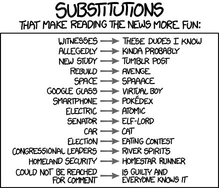 Substitutions That Make Reading the News More Fun by xkcd