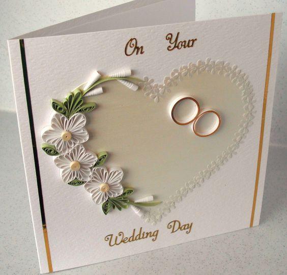 Quilled wedding congratulations card | Filigrana, Boda y Flor